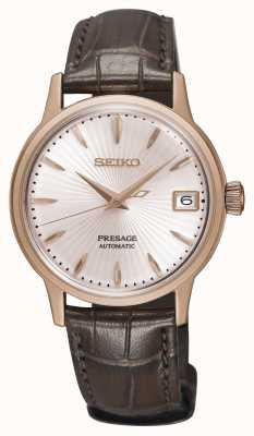Seiko Relógio automático feminino Presage pulseira de couro marrom ouro rosa SRP852J1