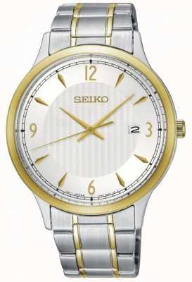 Seiko Mens clássico padrão branco discagem dois tom relógio SGEH82P1
