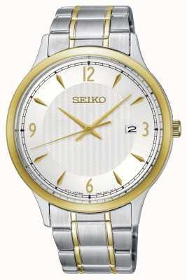Seiko Relógio masculino de padrão clássico de dois tons com discagem branca SGEH82P1