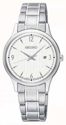 Seiko Relógio clássico de aço inoxidável com mostrador branco padrão feminino SXDG93P1