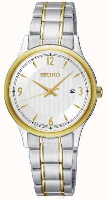Seiko Womens clássico padrão branco mostrador dois tom relógio SXDG94P1