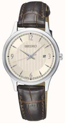 Seiko Clássico das mulheres padrão creme de discagem pulseira de couro marrom relógio SXDG95P1