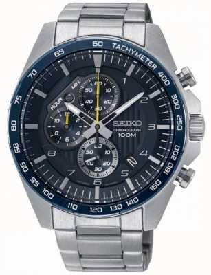 Seiko Mens motorsport azul cronógrafo relógio pulseira de aço SSB321P1