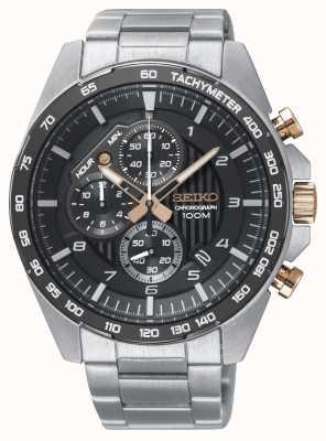 Seiko Mens motorsport preto cronógrafo pulseira de aço relógio SSB323P1