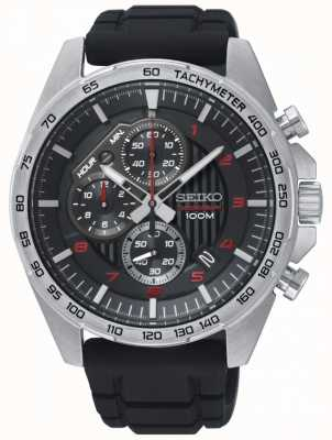 Seiko Mens motorsport preto cronógrafo relógio pulseira de borracha SSB325P1
