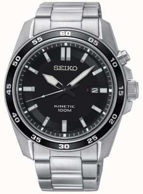 Seiko Mens aço inoxidável cinética relógio preto dial SKA785P1