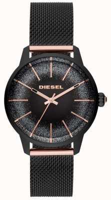 Diesel Womens castilla preto e rosa pulseira de malha de relógio de ouro DZ5577