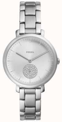 Fossil Relógio de cristal de prata de aço inoxidável das mulheres jacqueline ES4437
