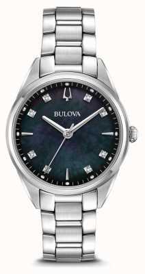 Bulova Mulheres clássico relógio sutton mãe negra de discagem pérola 96P198