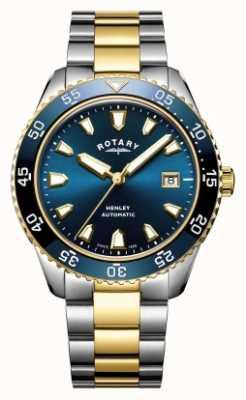 Rotary Mens henley automático de dois tons bracelete relógio com mostrador azul GB05131/05