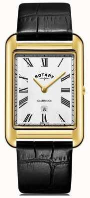 Rotary Relógio cambridge masculino quadrado dourado com pulseira de couro preta GS05283/01