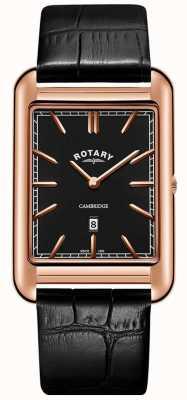 Rotary Mens cambridge rosa ouro relógio quadrado pulseira de couro preto GS05284/04