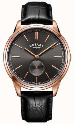 Rotary Mens cambridge pulseira de couro rosa relógio de tom de ouro GS05364/20