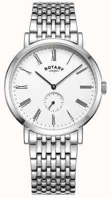 Rotary Mens windsor deslocado relógio de pulseira de aço inoxidável GB05310/01