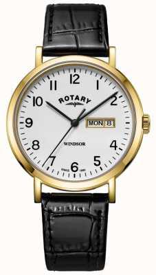 Rotary Mens windsor pulseira de couro preto caso tom de ouro GS05303/18