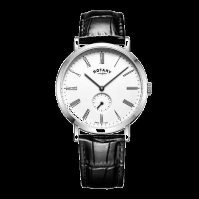 Rotary Mens windsor deslocado relógio caixa de aço inoxidável pulseira de couro GS05310/01