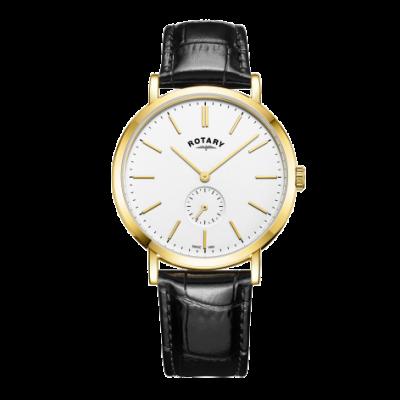Rotary Mens windsor gold tom pulseira de couro relógio GS05313/02