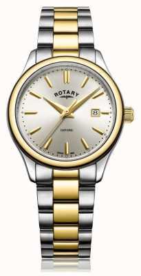 Rotary Womens oxford dois tom pulseira de prata de ouro LB05093/03