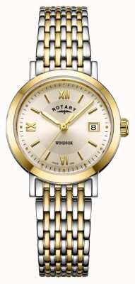 Rotary Relógio feminino com pulseira de ouro e prata em dois tons LB05301/09