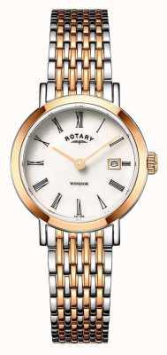 Rotary Womens windsor dois tons de ouro rosa e prata relógio pulseira LB05302/01