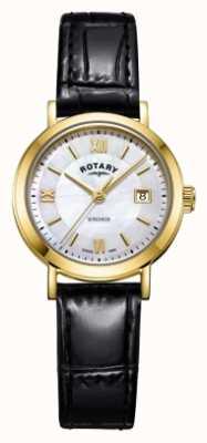 Rotary Womens windsor mãe de pulseira de couro preto de discagem pérola LS05303/41