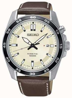 Seiko Mens kinetic watch pulseira de couro marrom cinta de discagem SKA787P1