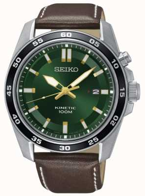 Seiko Mens kinetic watch pulseira de couro marrom mostrador verde SKA791P1
