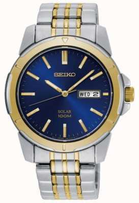 Seiko Mens relógio solar dois tons de aço inoxidável pulseira mostrador azul SNE502P1