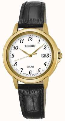 Seiko Womens solar white dial pulseira de couro preto SUT376P9