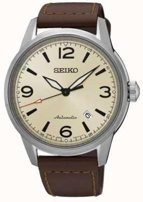 Seiko Presage pulseira de couro marrom automático creme de safira SRPB03J1