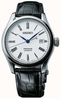 Seiko Presage mens automático branco mostrador pulseira de couro preto SPB047J1