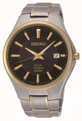 Seiko Mens solar dois tons pulseira de titânio relógio SNE382P9