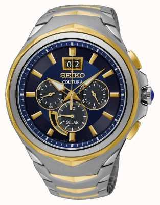 Seiko Coutura pulseira de aço inoxidável de dois tons com mostrador azul SSC642P1