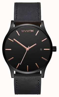 MVMT Couro rosa preto clássico | alça preta | mostrador preto D-MM01-BBRGL