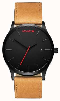 MVMT Bronzeado preto clássico | pulseira de couro marrom | mostrador preto D-L213.5L.351