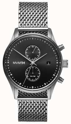MVMT Sterling Voyager | malha de aço inoxidável | mostrador preto D-MV01-S2