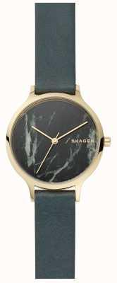 Skagen Womens anita assistir mármore cinza e pulseira de couro SKW2720