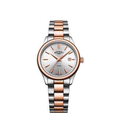 Rotary Womens oxford pulseira de dois tons de ouro rosa LB05094/06