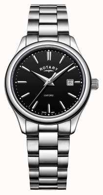 Rotary Mostrador de data preto pulseira de aço inoxidável oxford das mulheres LB05092/04