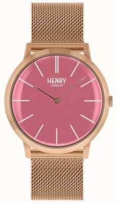 Henry London Mostrador rosa icônico subiu pulseira de malha de tom de ouro HL40-M-0312