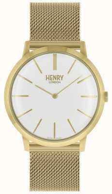 Henry London Pulseira de malha de ouro tom icônico dial branco HL40-M-0250