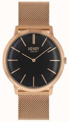 Henry London Mostrador preto icônico subiu pulseira de malha de ouro tom HL40-M-0254