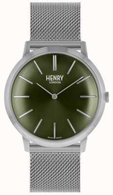 Henry London Dial de pulseira de malha de prata icônico verde HL40-M-0253