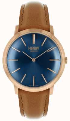 Henry London Icônico Marinha Dial pulseira de couro tan tom rosa caso HL40-S-0244