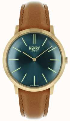Henry London Marinha icônica caso de tom dourado pulseira de couro marrom HL40-S-0274