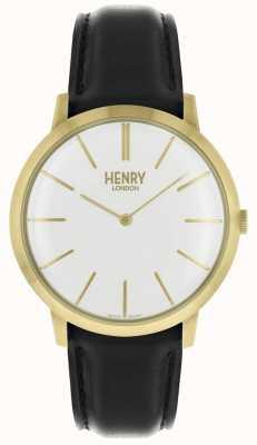 Henry London Dial branco icônico pulseira de couro preto caso tom de ouro HL40-S-0238