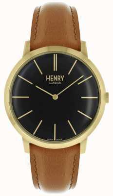 Henry London Caixa de tom dourado icônico pulseira de couro preto tom marrom HL40-S-0242