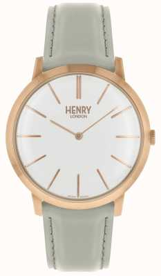 Henry London Pulseira de couro branco icônico mostrador branco tom de rosa caso HL40-S-0290