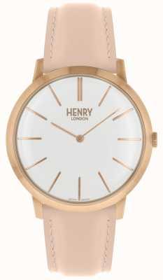 Henry London Mostrador branco icônico pulseira de couro rosa tom rosa caso HL40-S-0288