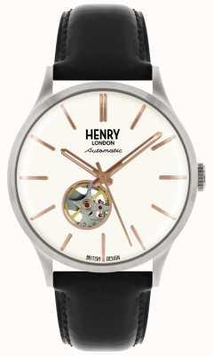 Henry London Património mens automático pulseira de couro preto branco relógio de marcação HL42-AS-0279